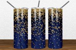 Navy Wood Gold Glitter 2oz Skinny Tumbler Sublimation Product Image 1