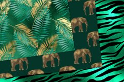 Emerald and Gold Animal Print Digital Paper Product Image 2