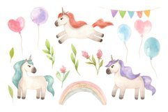 Watercolor Unicorns. Cliparts and Pattern Product Image 6