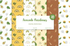 Avocado and Rainbow Seamless Patterns, Nursery Digital Paper Product Image 1