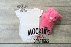 MOCK-UP - White one-piece baby outfit - Dollarama bunny Product Image 1