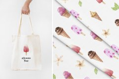 Watercolor Ice Cream and Cold Drinks. Seamless Patterns Product Image 5