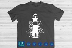 LightHouse Svg, Lighthouse with flower Cut File Product Image 2