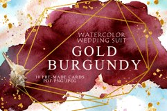 Burgundy and Gold Watercolor Wedding Invitation suite Product Image 4