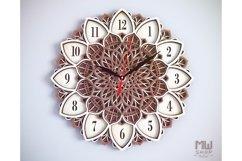 C08 - Laser Cut Wall Clock DXF, Mandala Clock, Wooden Clock Product Image 3