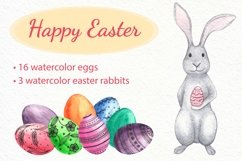 Watercolor easter rabbits and colourfull eggs. Clip art set Product Image 1