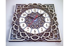 C11 - Wall Clock for Laser cut, Mandala Clock DXF pattern Product Image 3