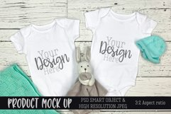 Twins blue baby bodysuit Craft mock up | PSD & JPEG Product Image 1