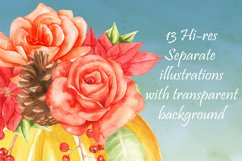 thanksgiving pumkins Watercolor clipart Product Image 6