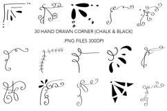 30 Hand Drawn Border Black and White Clipart, PNG 300 DPI Product Image 2