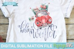 Hello Winter Car - PNG - Print and Cut Christmas Xmas Product Image 1