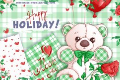 White Teddy Bear for Valentine's Day. Clipart and patterns. Product Image 4