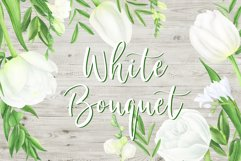 Watercolor white tulips and freesia clipart Product Image 1