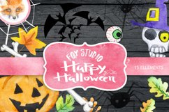 Halloween watercolor clipart, Pumpkin, Autumn leaves, wooden Product Image 1