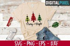 Merry and Bright Svg, Christmas Tree Svg, Buffalo Plaid Tree Product Image 2