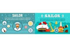 Marine sailor banner set, flat style Product Image 1