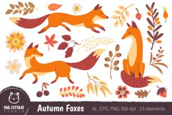 Autumn Foxes and Fall Elements, Woodland Animals Clipart Product Image 1