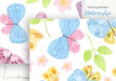 Watercolor Butterflies. Seamless Patterns Product Image 4