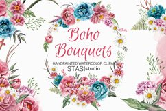 Boho Bouquets Clipart, Watercolor Boho Peony, Hand Painted Product Image 1
