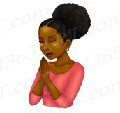 Praying Woman African American Natural Hair Clipart PNG Product Image 4