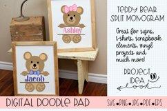 Teddy Bear SVG Split Monogram | Silhouette & Cricut Cut File Product Image 2
