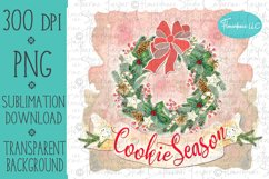 Cookie Season Wreath PNG Christmas Sublimation Design Product Image 1