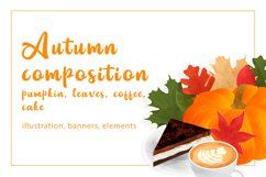 Autumn composition with pumpkin, leaves, coffee, cake Product Image 1