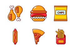 Fast food icon set, cartoon style Product Image 1