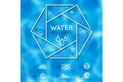 Water infographic vector template with texture blurred backg Product Image 1