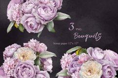 Lilac roses bouquets clipart. Floral arrangements. Product Image 1