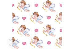 Valentines day seamless pattern Cupid digital paper Product Image 1