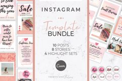 Instagram Template Bundle for Canva | Pink Watercolor Product Image 1