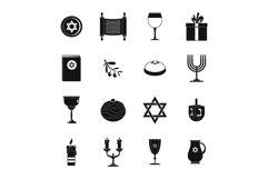 Chanukah jewish holiday icons set, simple style Product Image 1