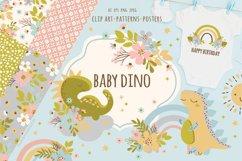 BABY DINO Kid Hand Drawn Flat Design Vector Illustration Set Product Image 1