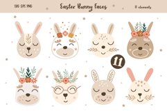 Easter Baby Bunny Faces Clipart, Vector set, SVG, PNG Product Image 1