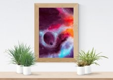 Space Poster. Three Watercolor Backgrounds Product Image 3