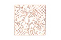 Redwork Rose Quilting Set of 4 Machine Embroidery Product Image 3