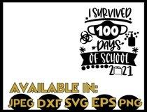 Teacher SVG JPEG Silhouette Cricut survived 100 days school Product Image 2