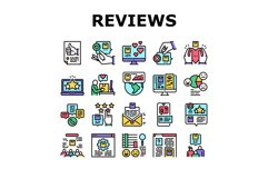 Reviews Of Customer Collection Icons Set Vector Product Image 1