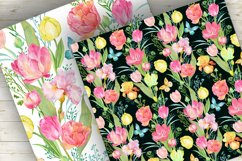 Tulips Seamless Patterns Watercolor Product Image 4