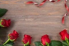 Valentines day background, rose border with ribbon flat lay Product Image 1