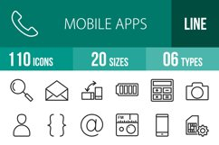 110 Mobile Apps Line Icons Product Image 1