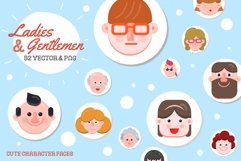 32 Character Faces - Flat Art Product Image 1