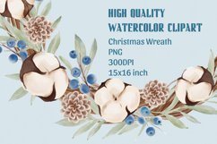 Christmas Watercolor Clipart, Christmas Wreath Clipart, PNG Product Image 2