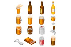 Beer drink icon set, isometric style Product Image 1