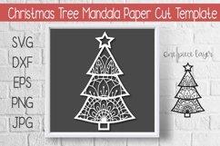 Mandala Christmas Tree Paper Cut Template Design Product Image 1