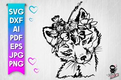 Fox with flowers cut file - svg baby animal Product Image 1