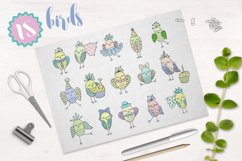 Cute birds, flowers, frames and lettering Product Image 5