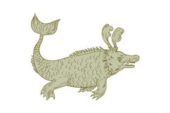 Ancient Sea Monster Drawing Product Image 1
