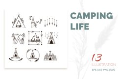 Camping life Graphic. 13 illustration in doodle style Product Image 1